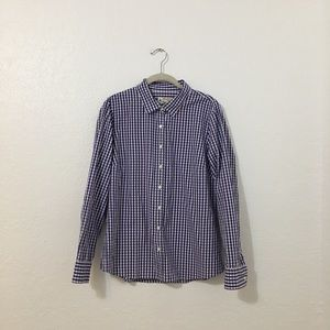 J. Crew Thomas Mason Purple Gingham Shirt